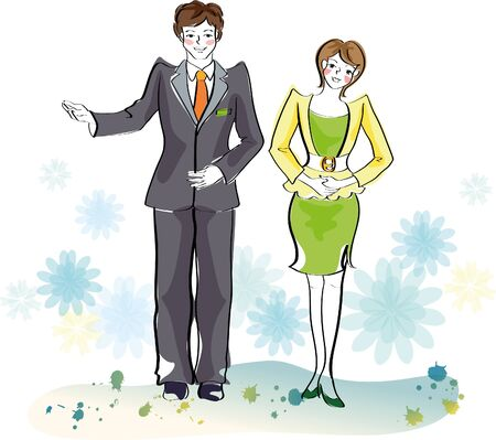 Business couple greeting Illustration