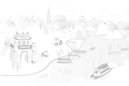 hanoi landmark illustrated
