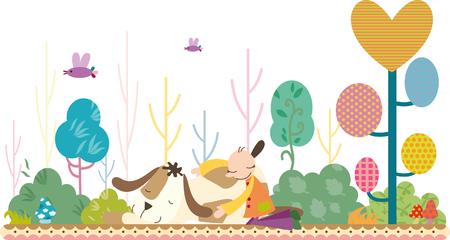 Boy and dog sleeping Illustration