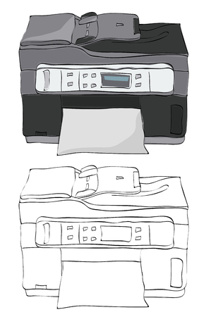 Vintage style hand drawn fax machine, copy machine