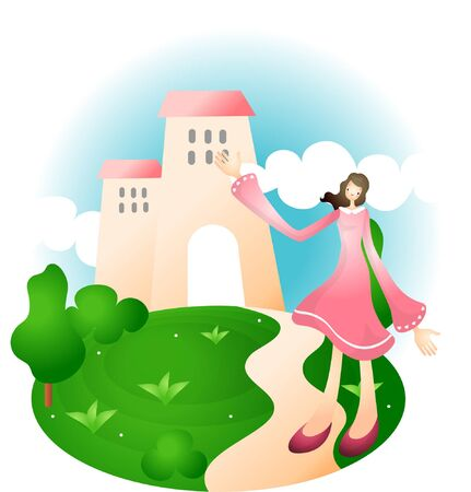 Woman posing on village background Illustration