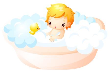 Baby taking a foam bath