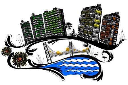 City building, flower pattern Silhouette Illusztráció