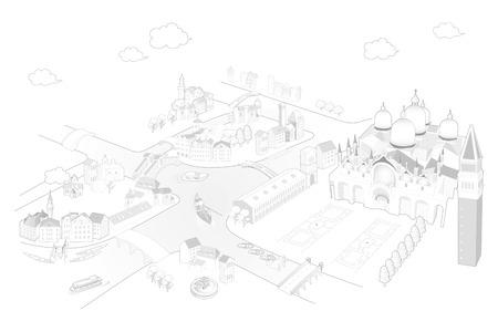 venice landmark illustrated