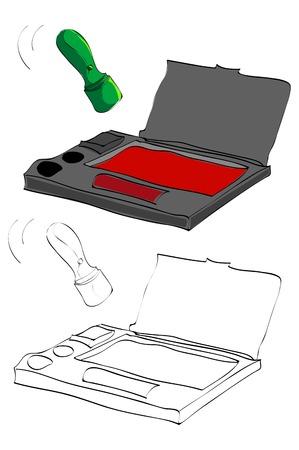 빈티지 스타일 손으로 그린 스탬프 및 잉크 패드 일러스트