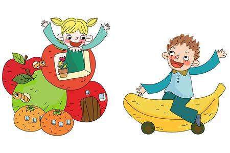Children with fruit shape building