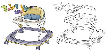 Vintage style hand drawn baby walker 向量圖像