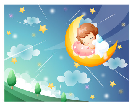 Girl sleeping on the moon