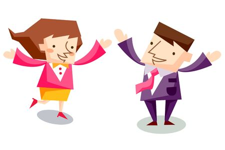 Business people characters looking excited Illustration