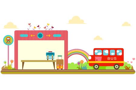 Bus stop, horizontal design Vettoriali