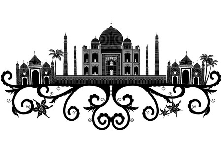 The Taj Mahal, flower pattern Silhouette Illustration