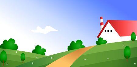 Country village with tree Ilustração