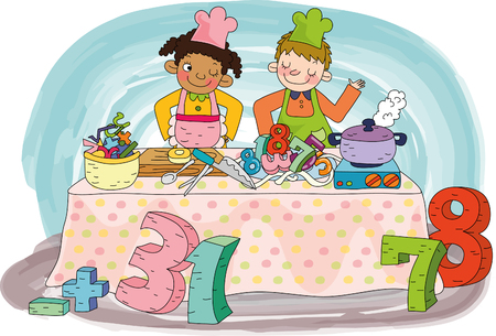Children cooking with number Illustration