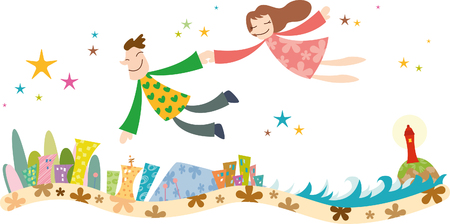 Romantic couple in flying motion