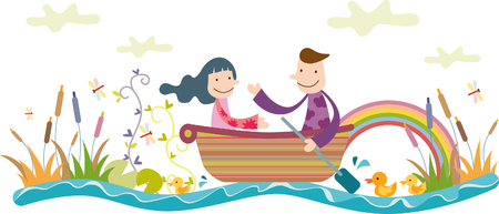 Romantic couple riding boat