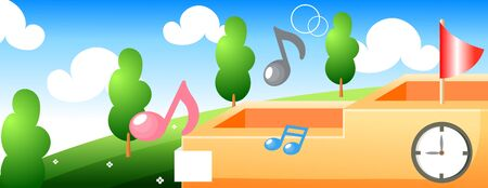 School scenery with music