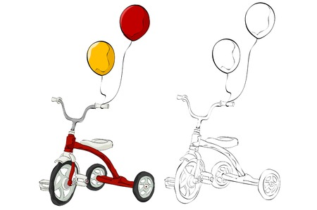 Vintage style hand drawn bicycle with balloons Illustration
