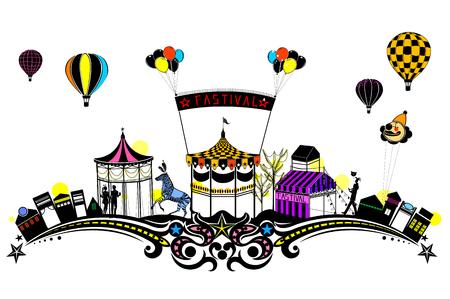 Amusement park, flower pattern Silhouette