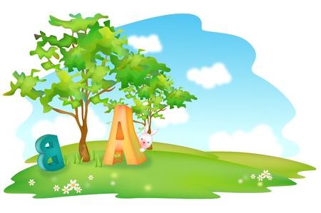 Nature scene of park and alphabet