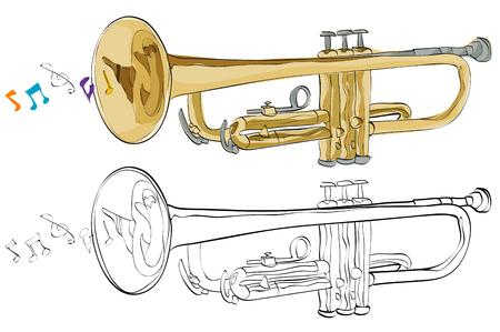 Vintage style hand drawn trumpet. Illustration