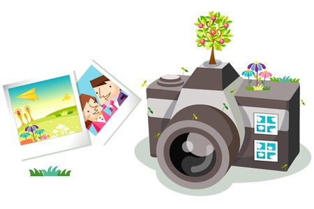 Camera and polaroid photos Illustration