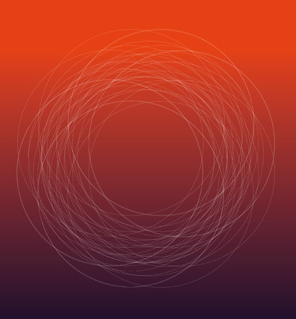 Repeating geometry circle line pattern On red background Illustration