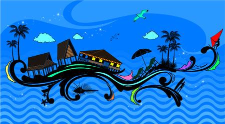 Beach with abstract curve decoration Illusztráció