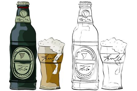 Vintage style hand drawn beer bottles and glass Çizim