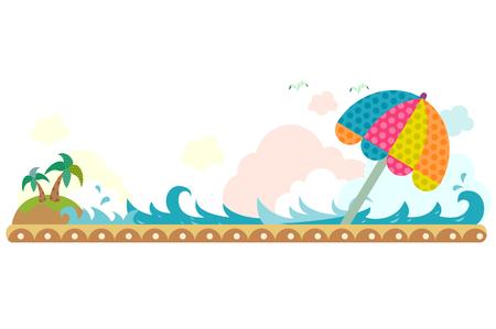 Parasol on the beach, horizontal design