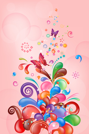 Butterfly with abstract bubbly pattern Stock Illustratie