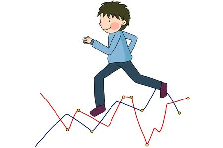 Man running with graph Stok Fotoğraf - 90772152