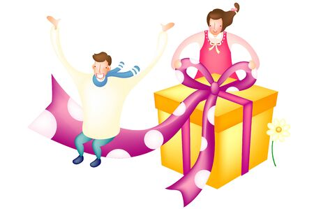 Couple with surprise gift bag Illustration