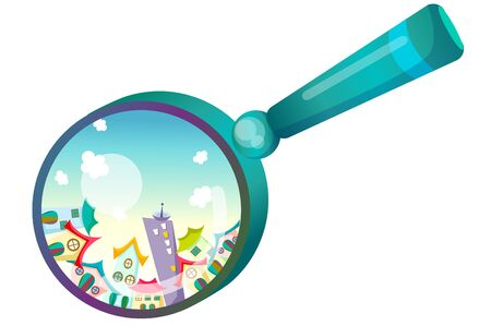 Houses and buildings in the magnifier lense