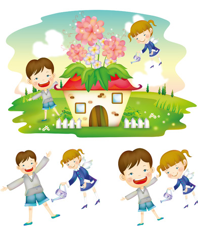 Children watering plant house Illustration