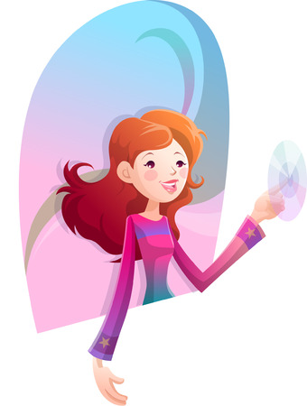 Woman touching the button Illustration