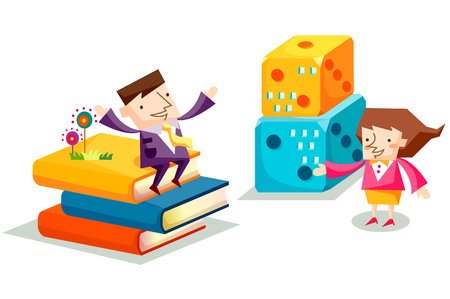 Business people characters with stacked books and dices Illustration
