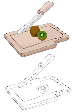 Vintage style hand drawn knife cutting a kiwin on a cutting board