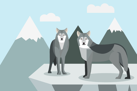 Wolf roaming in the wild Illustration