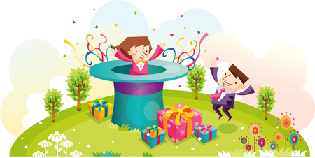 Couple with surprise gift Illustration