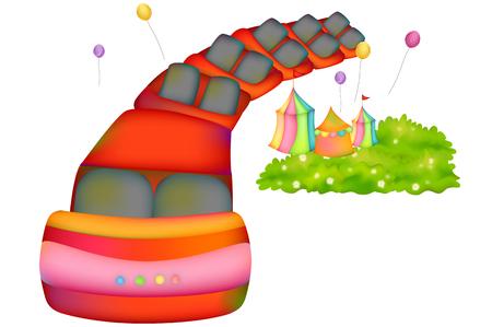 Roller coaster in amusement park Stock Vector - 90772521