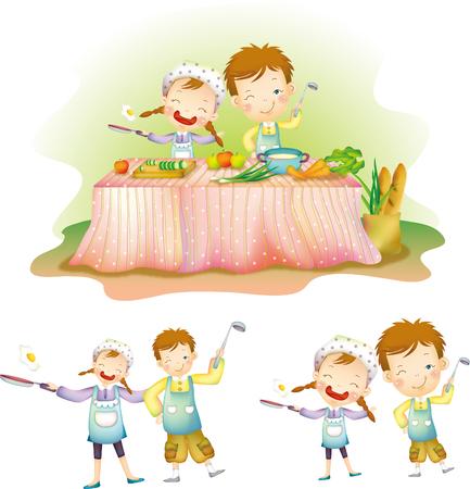 Children cooking at kitchen 向量圖像