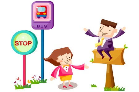 Business people characters waiting at a bus stop Illustration