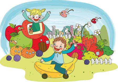 Children in fruit village