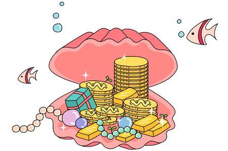 Treasure in a shell illustration Illustration