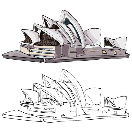 Vintage style hand drawn Opera House.