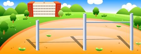 School and school yard Illustration
