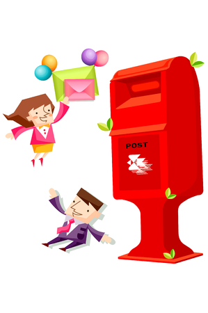 Business people characters with letters and a post box Illustration