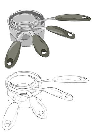 ヴィンテージスタイルの手描き計量カップ  イラスト・ベクター素材