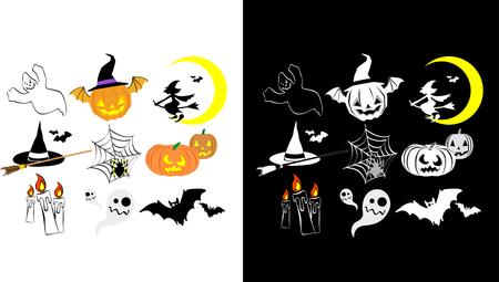Two version of Halloween icon set