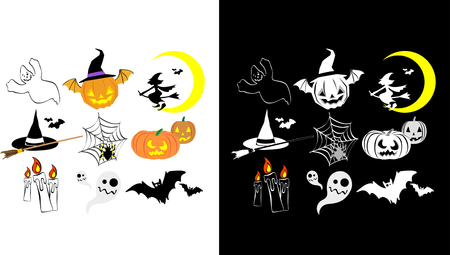 Two version of Halloween icon set